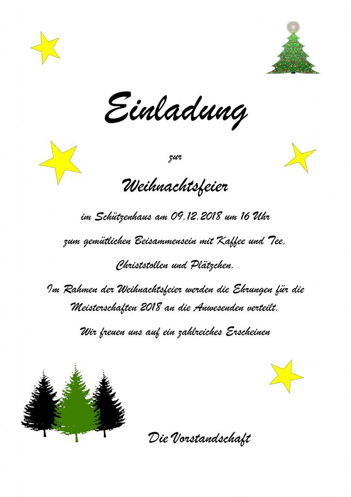 Einladung Zur Weihnachtsfeier.Einladung Zur Weihnachtsfeier Am 09 12 2018 Sg Hubertus